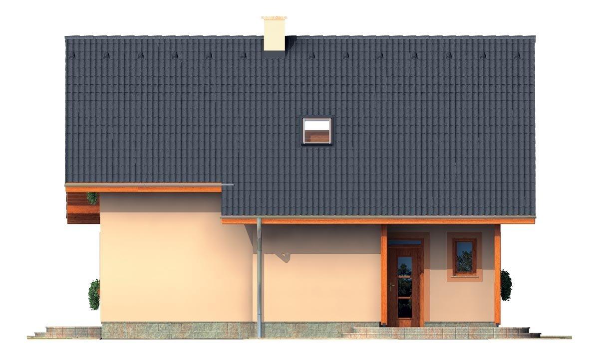 Pohľad 1. - Rodinný dom na úzky pozemok s obytným podkrovím.
