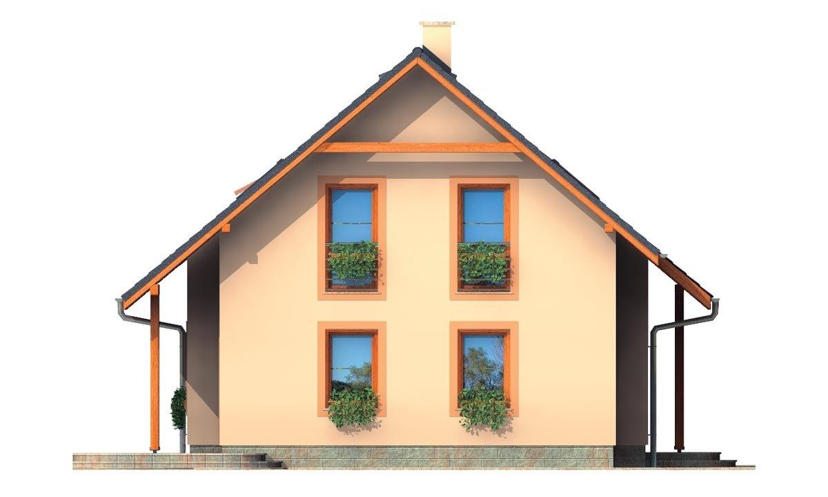Pohľad 2. - Rodinný dom na úzky pozemok s obytným podkrovím.