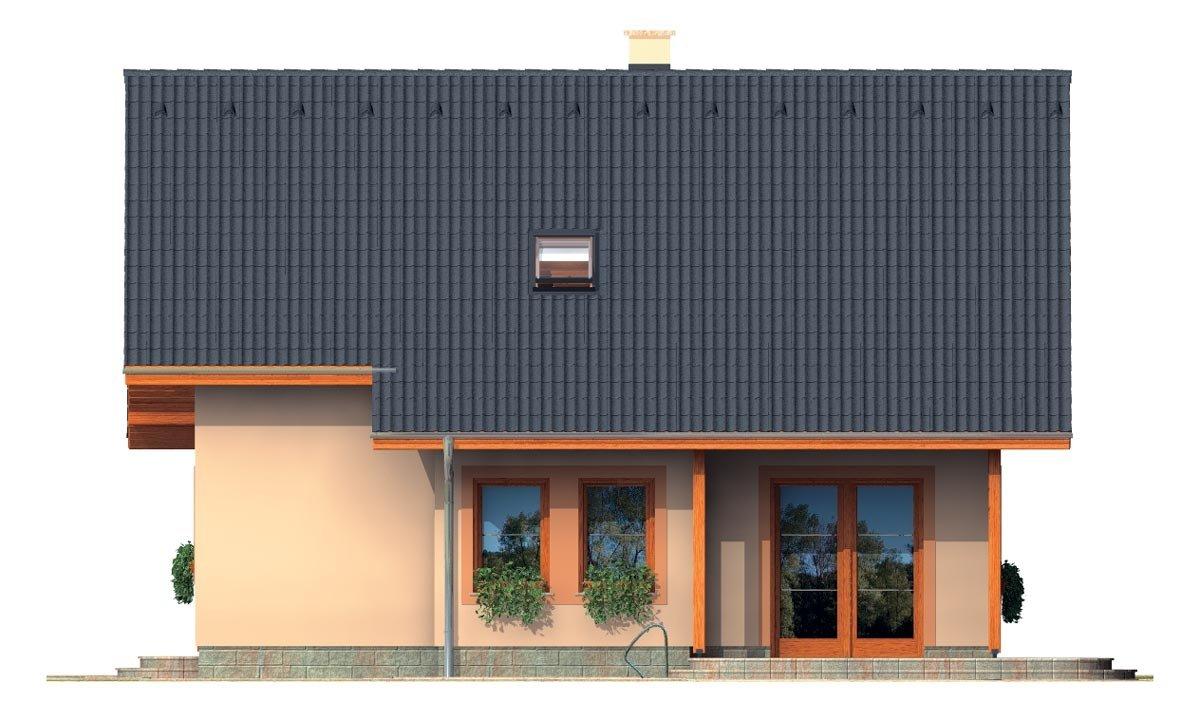 Pohľad 3. - Rodinný dom na úzky pozemok s obytným podkrovím.