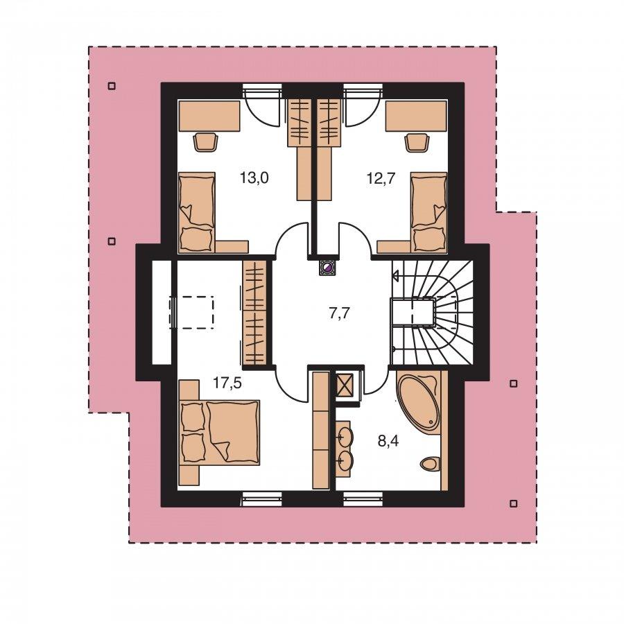 Pôdorys Poschodia - Rodinný dom na úzky pozemok s obytným podkrovím