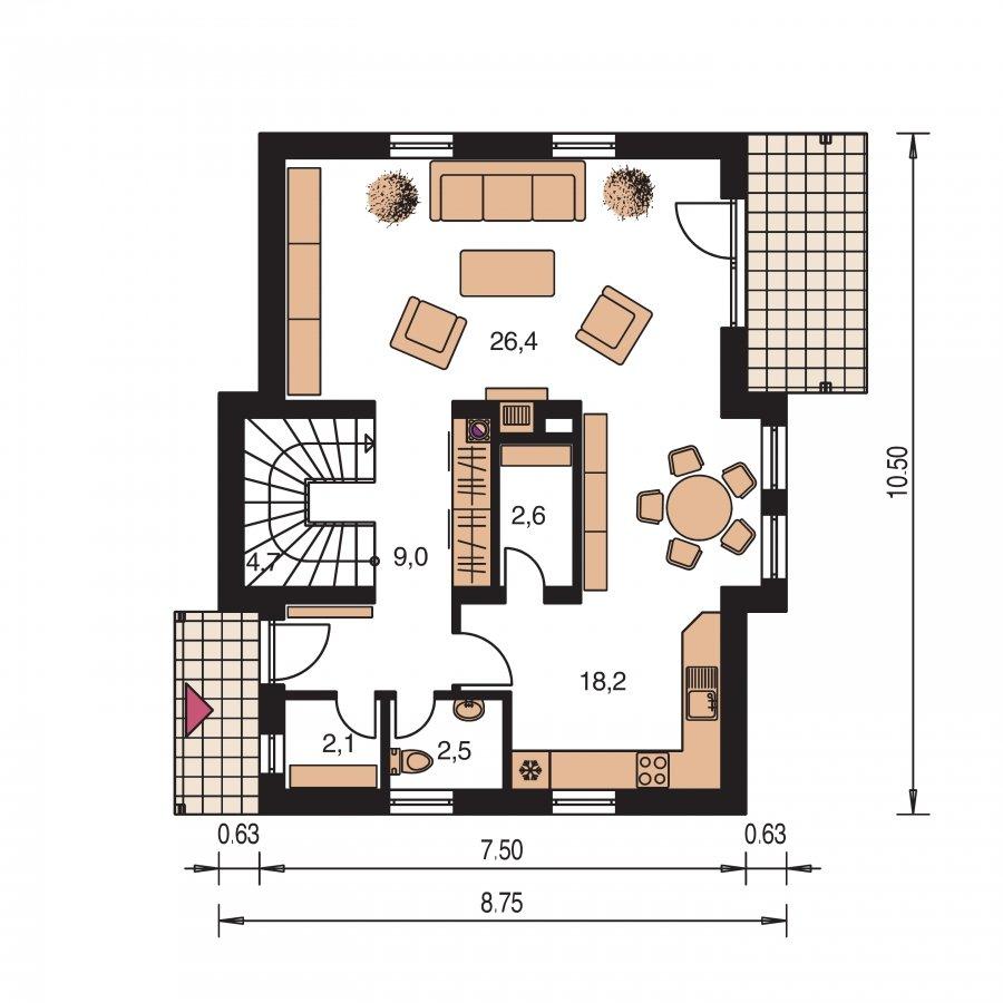 Pôdorys Prízemia - Rodinný dom na úzky pozemok s obytným podkrovím