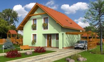 Dom na úzky pozemok s obytným podkrovím a s terasou