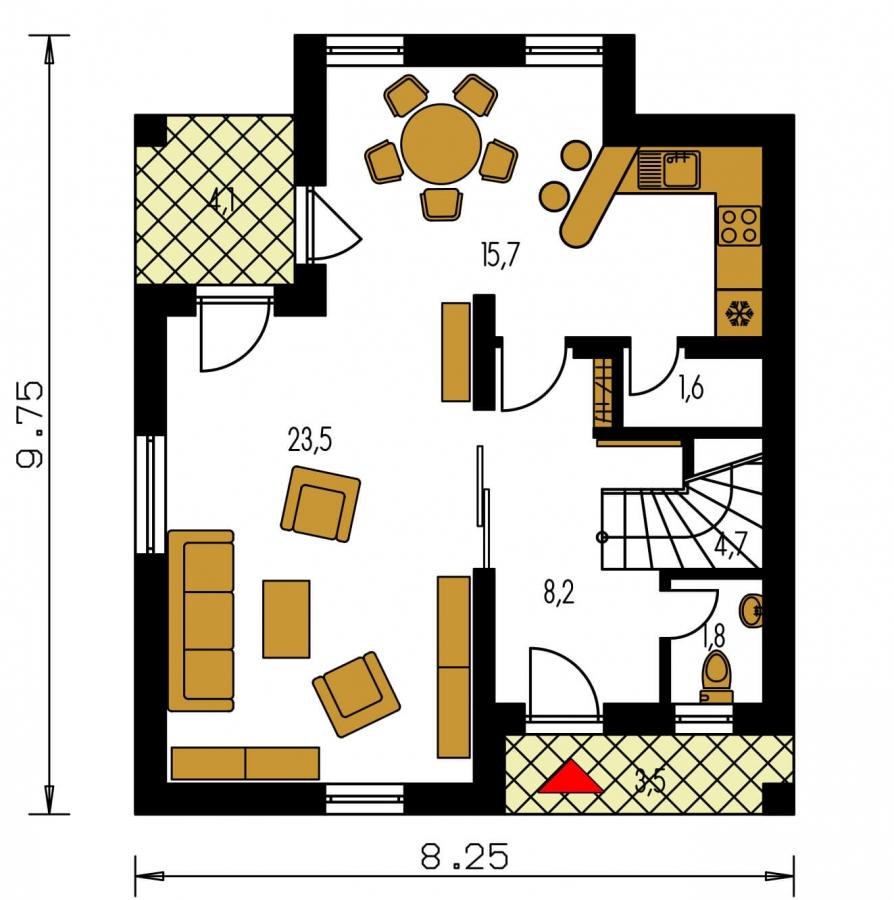 Pôdorys Prízemia - 4-izbový dom na úzky pozemok s obytným podkrovím.