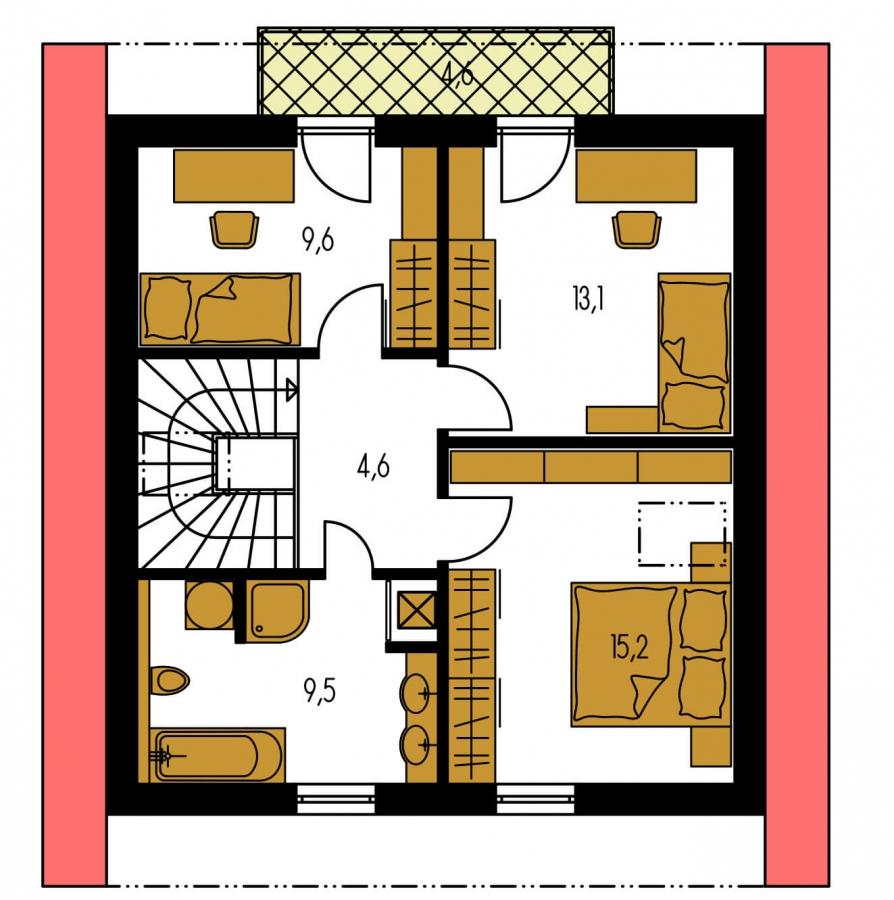 Pôdorys Poschodia - 4-izbový dom na úzky pozemok s obytným podkrovím.