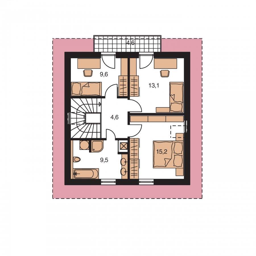 Pôdorys Poschodia - Dom na úzky pozemok s obytným podkrovím a s terasou