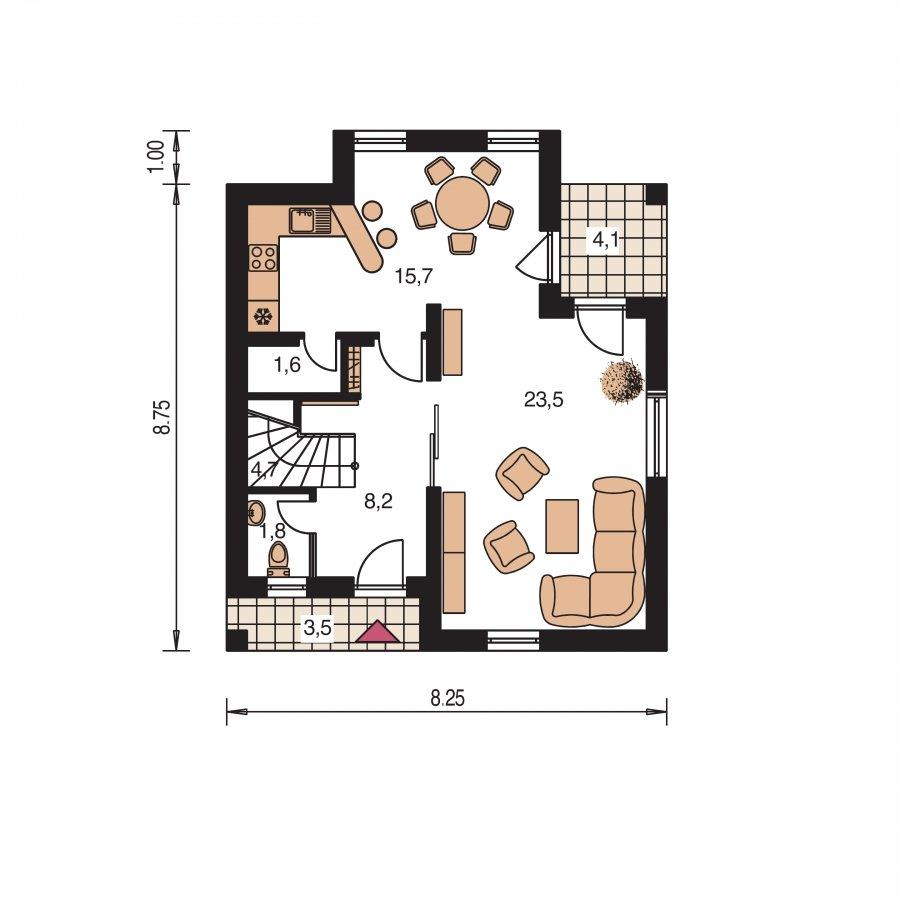 Pôdorys Prízemia - Dom na úzky pozemok s obytným podkrovím a s terasou