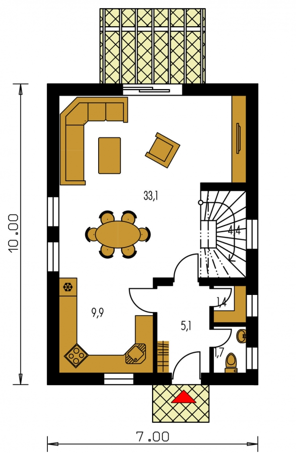 Pôdorys Prízemia - Projekt jednoduchého domu na úzky pozemok s čelným vstupom.