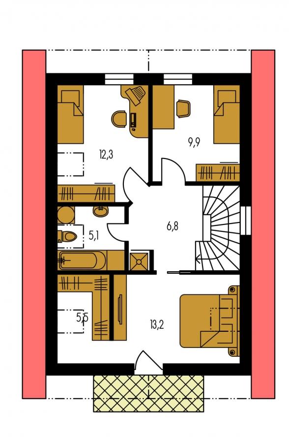 Pôdorys Poschodia - Projekt jednoduchého domu na úzky pozemok s čelným vstupom.
