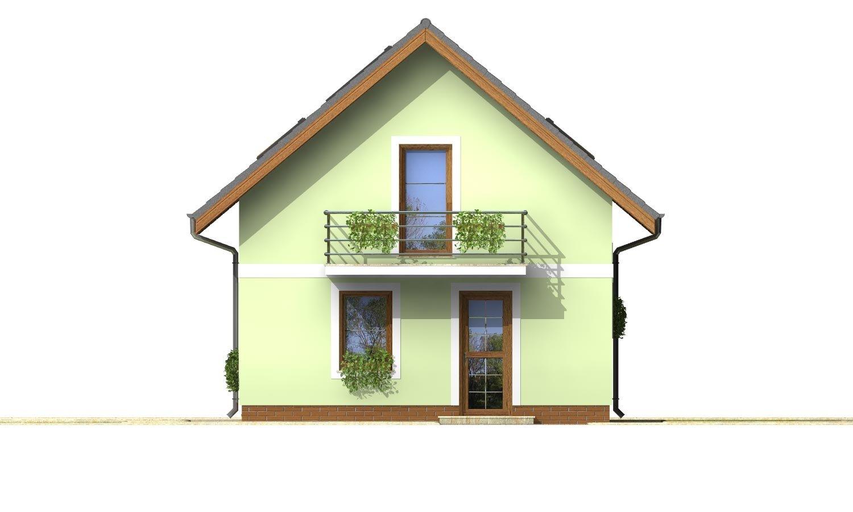 Pohľad 1. - Projekt jednoduchého domu na úzky pozemok s čelným vstupom.