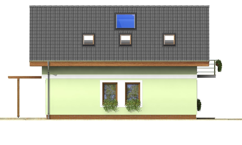 Pohľad 2. - Projekt jednoduchého domu na úzky pozemok s čelným vstupom.