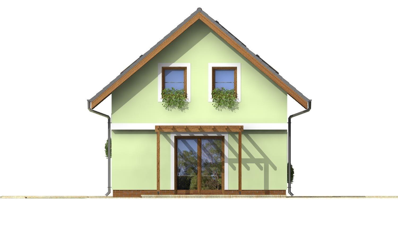 Pohľad 3. - Projekt jednoduchého domu na úzky pozemok s čelným vstupom.