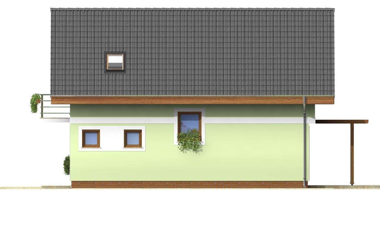Pohľad 4. - Projekt jednoduchého domu na úzky pozemok s čelným vstupom.