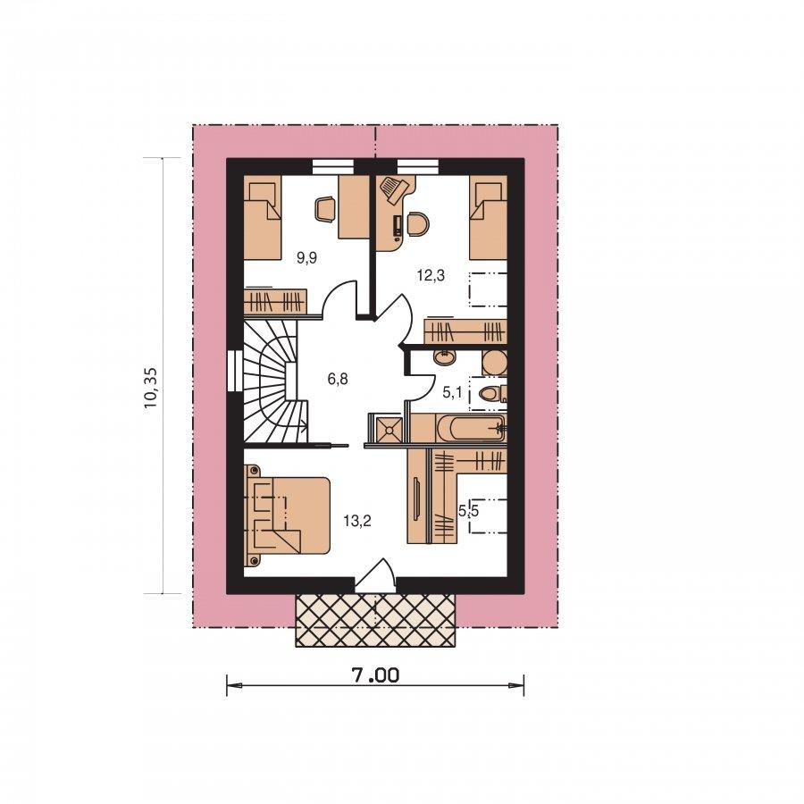 Pôdorys Poschodia - Projekt domu na úzky pozemok s čelným vstupom