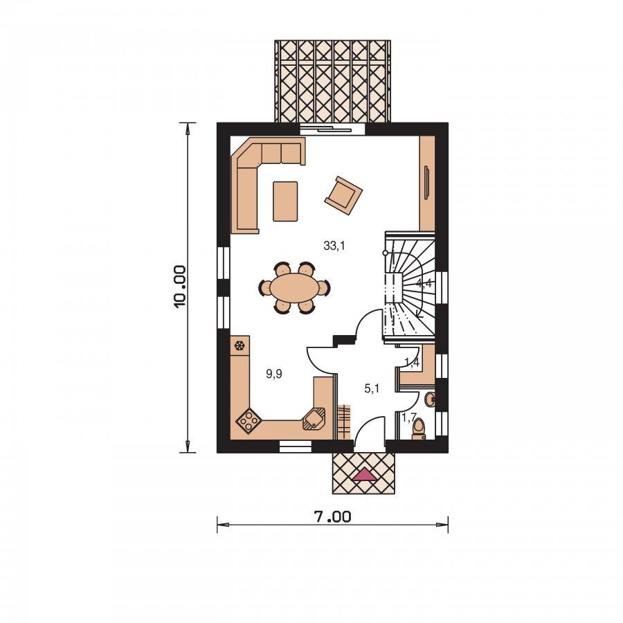 Pôdorys Prízemia - Projekt domu na úzky pozemok s čelným vstupom
