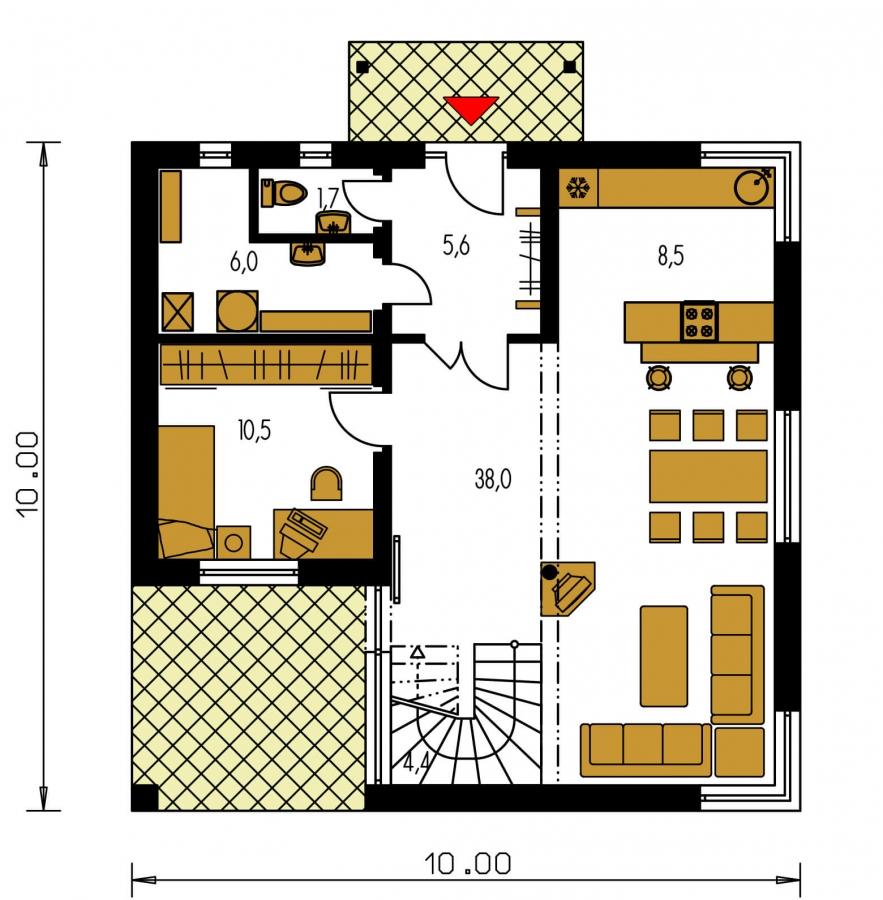 Pôdorys Prízemia - Rodinný dom s izbou na prízemí a obytným podkrovím.