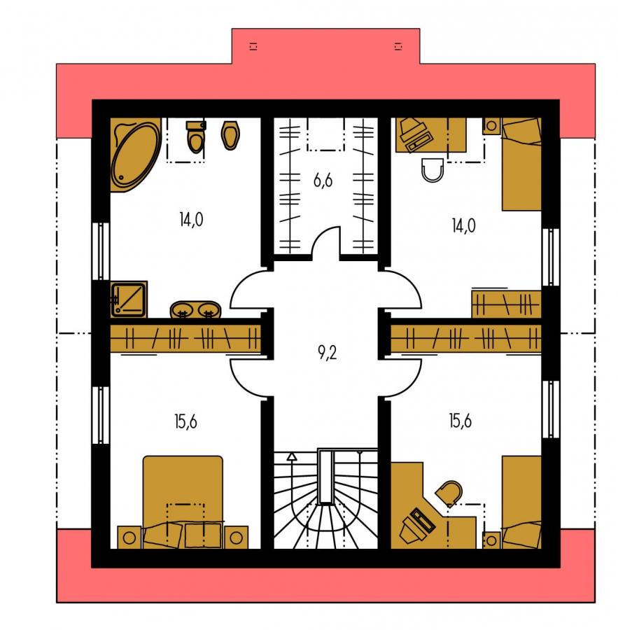 Pôdorys Poschodia - Rodinný dom s izbou na prízemí a obytným podkrovím.