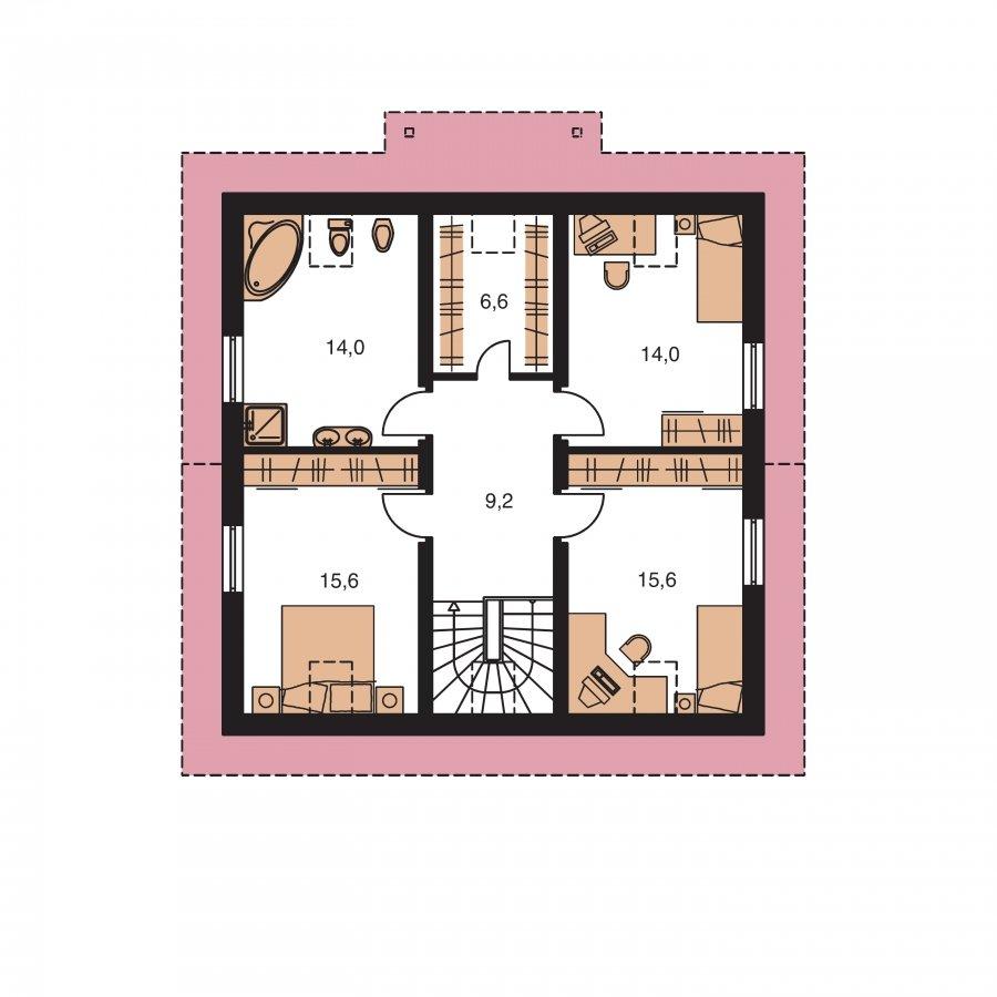 Pôdorys Poschodia - Rodinný dom s izbou na prízemí a obytným podkrovím