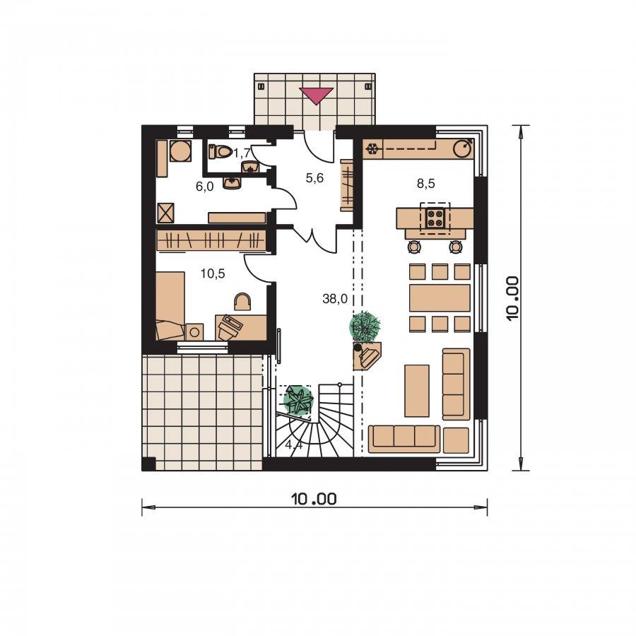 Pôdorys Prízemia - Rodinný dom s izbou na prízemí a obytným podkrovím