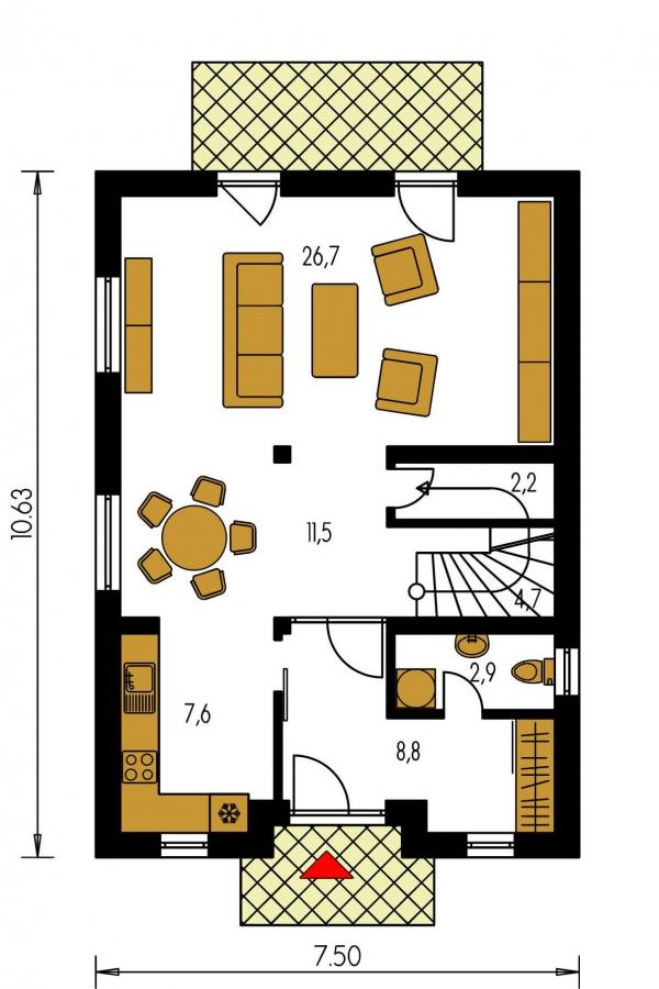 Pôdorys Prízemia - 4-izbový dom na úzky pozemok.