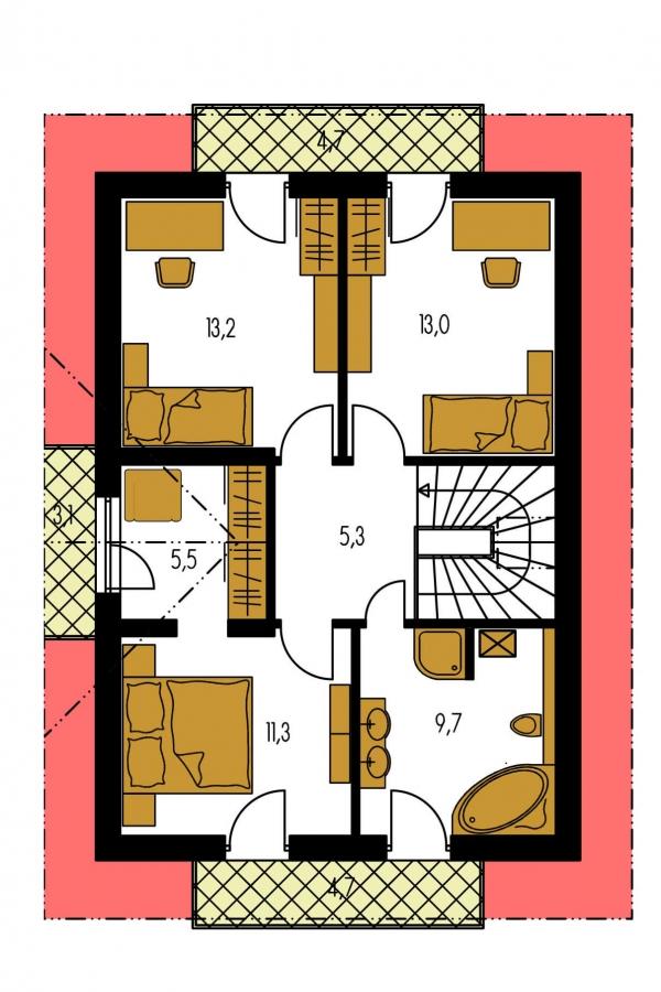 Pôdorys Poschodia - 4-izbový dom na úzky pozemok.