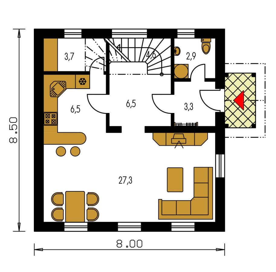Pôdorys Prízemia - Menší 3-izbový podkrovný rodinný dom na užší pozemok, vhodný aj ako chata.