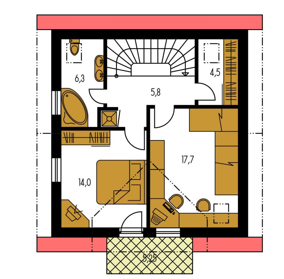 Pôdorys Poschodia - Menší 3-izbový podkrovný rodinný dom na užší pozemok, vhodný aj ako chata.