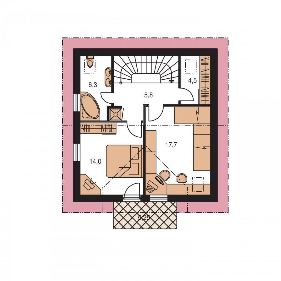 Pôdorys Poschodia - Menší 3-izbový podkrovný rodinný dom na užší pozemok