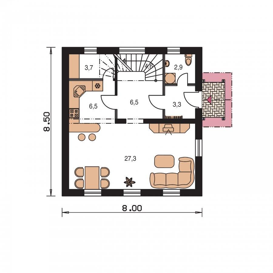 Pôdorys Prízemia - Menší 3-izbový podkrovný rodinný dom na užší pozemok