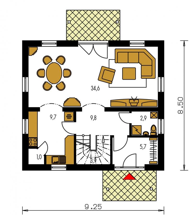 Pôdorys Prízemia - Klasický 4-izbový podkrovný rodinný dom.