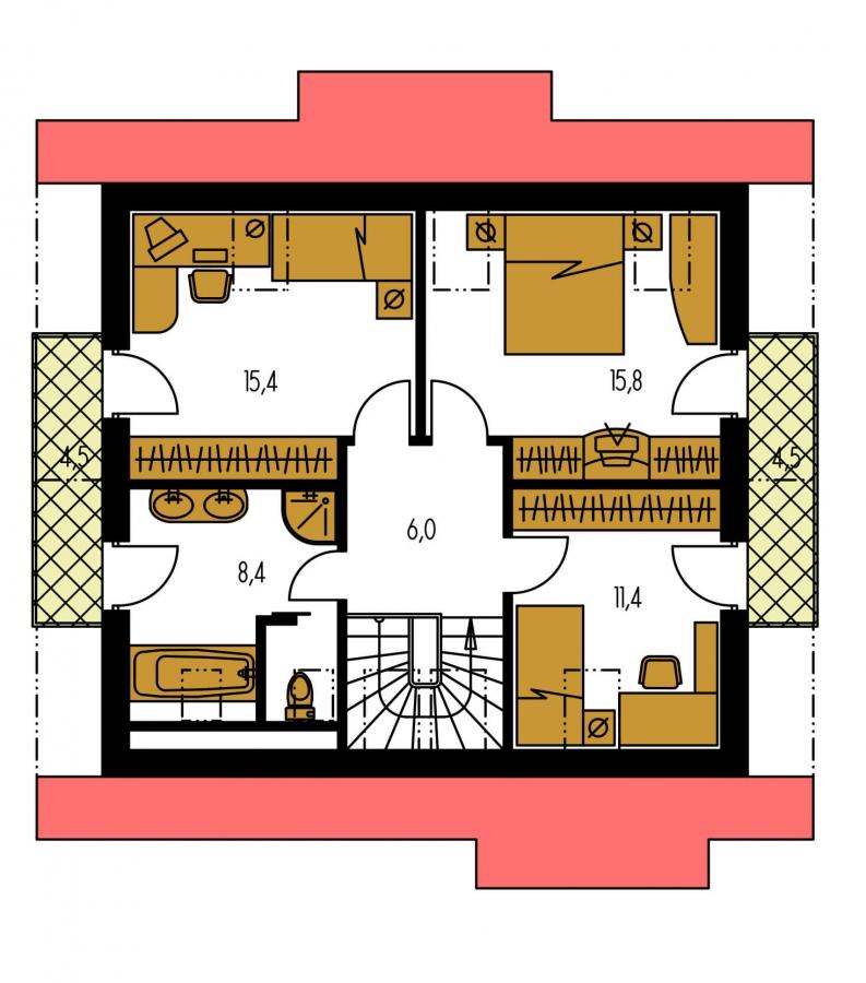 Pôdorys Poschodia - Klasický 4-izbový podkrovný rodinný dom.