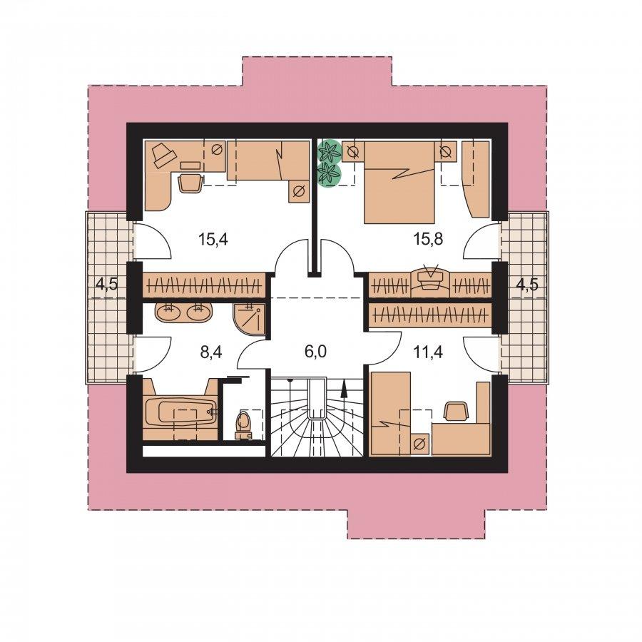 Pôdorys Poschodia - Klasický 4-izbový podkrovný rodinný dom