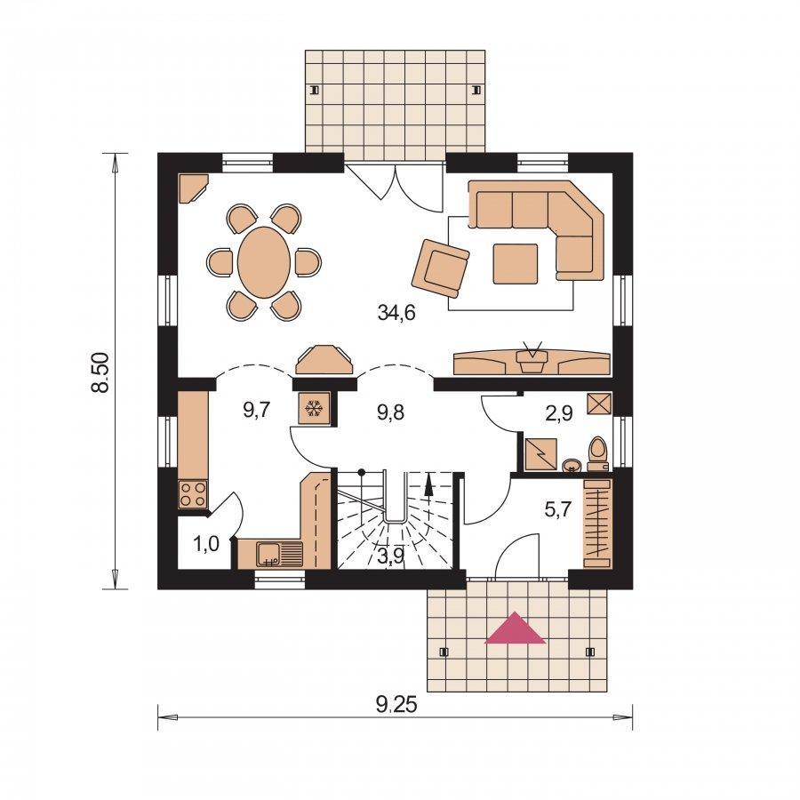Pôdorys Prízemia - Klasický 4-izbový podkrovný rodinný dom