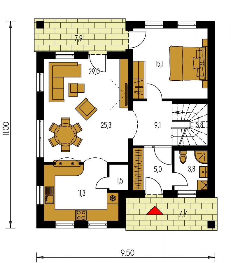 Pôdorys Prízemia - 5-izbový rodinný dom s izbou na prízemí, obytným podkrovím a prekrytou terasou.