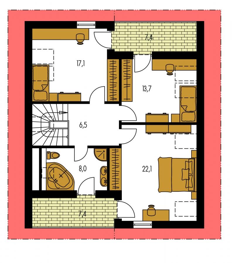 Pôdorys Poschodia - 5-izbový rodinný dom s izbou na prízemí, obytným podkrovím a prekrytou terasou.