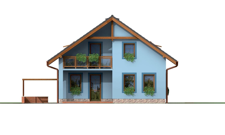 Pohľad 1. - 5-izbový rodinný dom s izbou na prízemí, obytným podkrovím a prekrytou terasou.