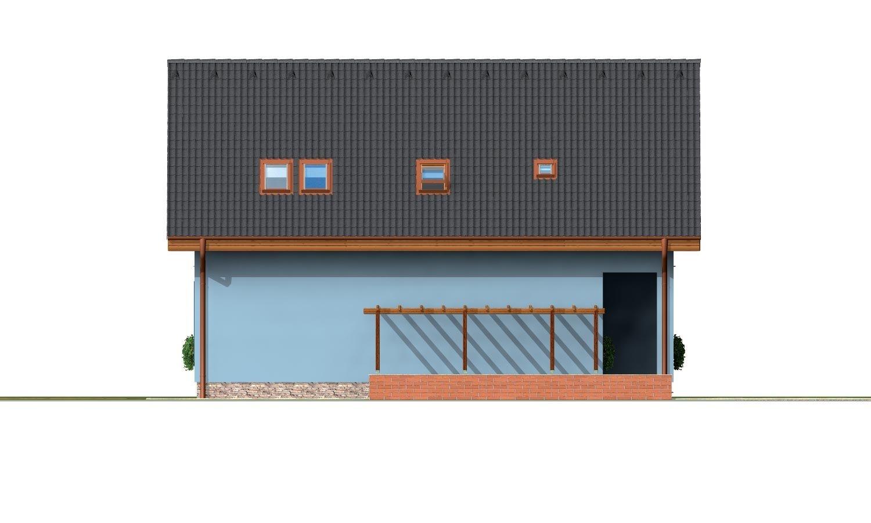 Pohľad 2. - 5-izbový rodinný dom s izbou na prízemí, obytným podkrovím a prekrytou terasou.