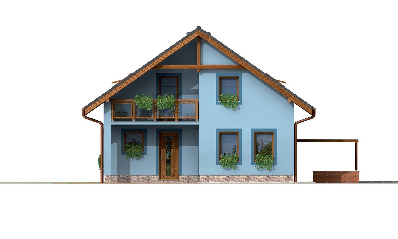 Pohľad 3. - 5-izbový rodinný dom s izbou na prízemí, obytným podkrovím a prekrytou terasou.