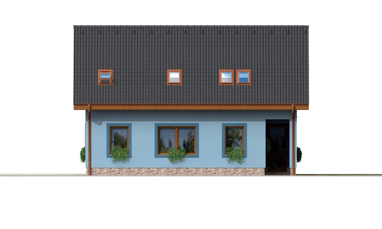 Pohľad 4. - 5-izbový rodinný dom s izbou na prízemí, obytným podkrovím a prekrytou terasou.