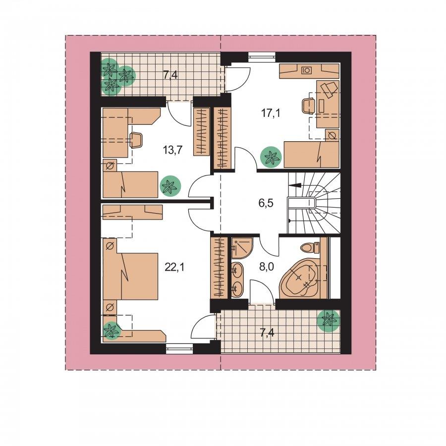 Pôdorys Poschodia - 5-izbový rodinný dom s obytným podkrovím a prekrytou terasou