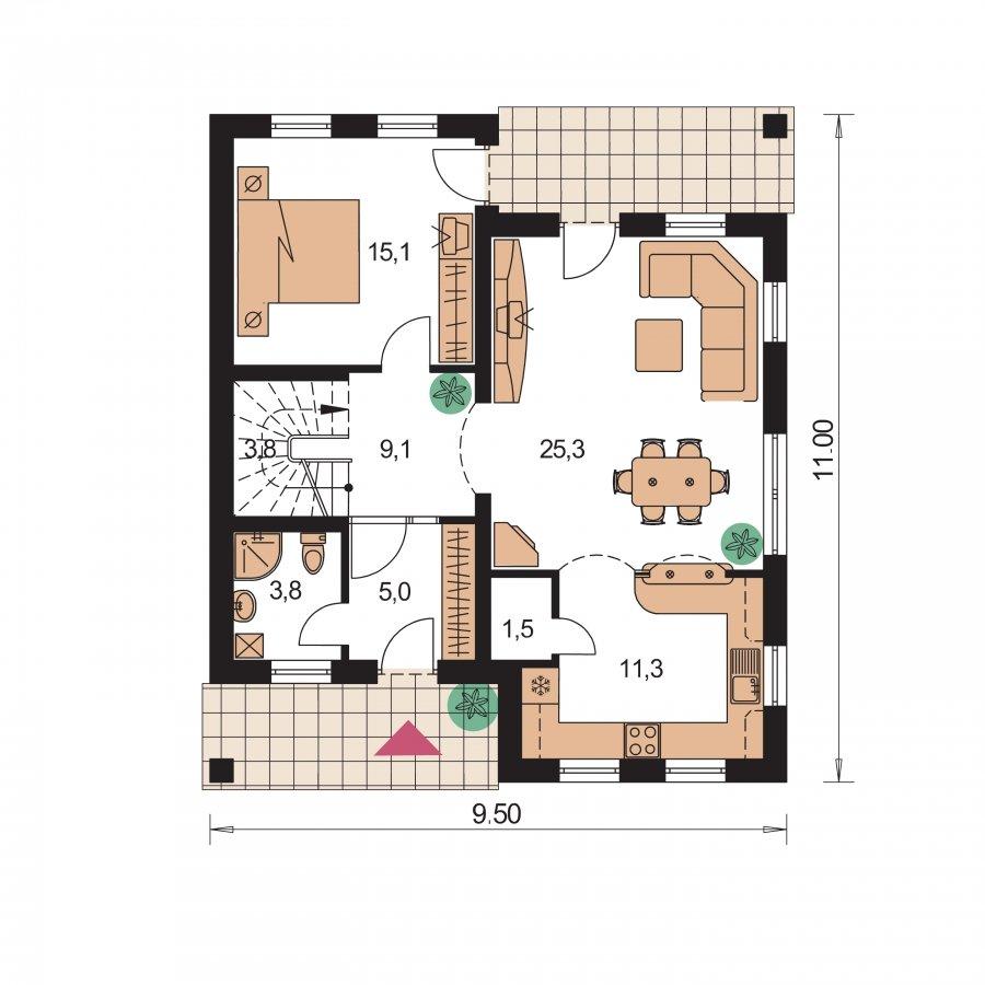 Pôdorys Prízemia - 5-izbový rodinný dom s obytným podkrovím a prekrytou terasou