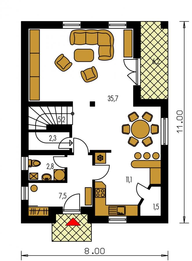 Pôdorys Prízemia - Rodinný dom na úzky pozemok pre 4-5 člennú rodinu.