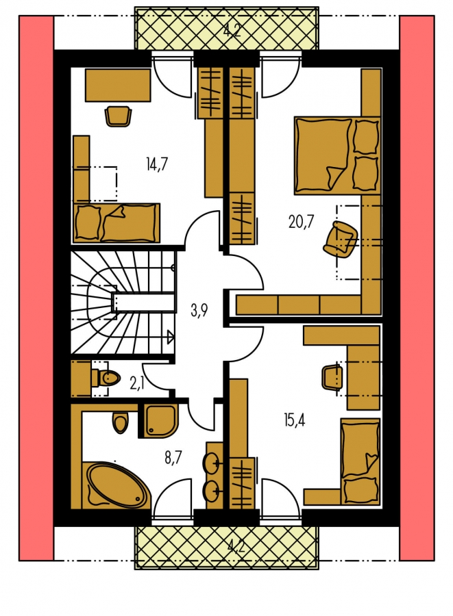 Pôdorys Poschodia - Rodinný dom na úzky pozemok pre 4-5 člennú rodinu.