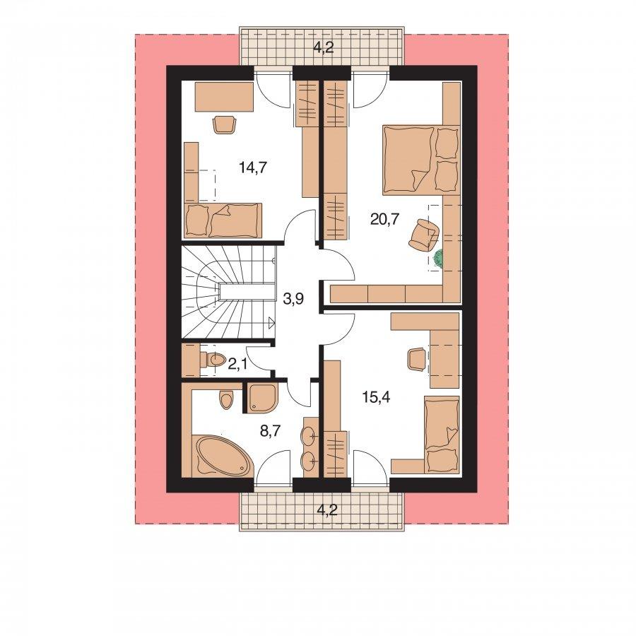 Pôdorys Poschodia - Rodinný dom na úzky pozemok s terasou