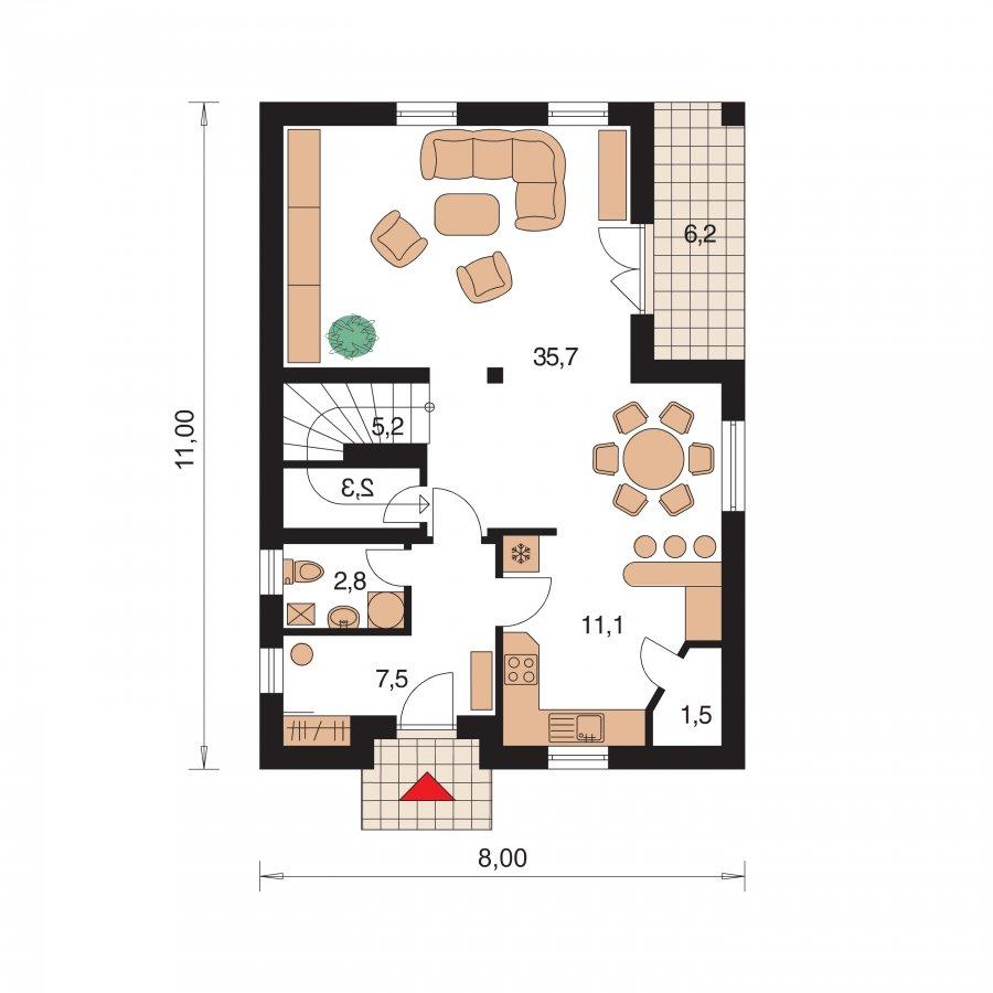 Pôdorys Prízemia - Rodinný dom na úzky pozemok s terasou