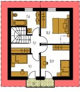 Pôdorys poschodia - KOMPAKT 44