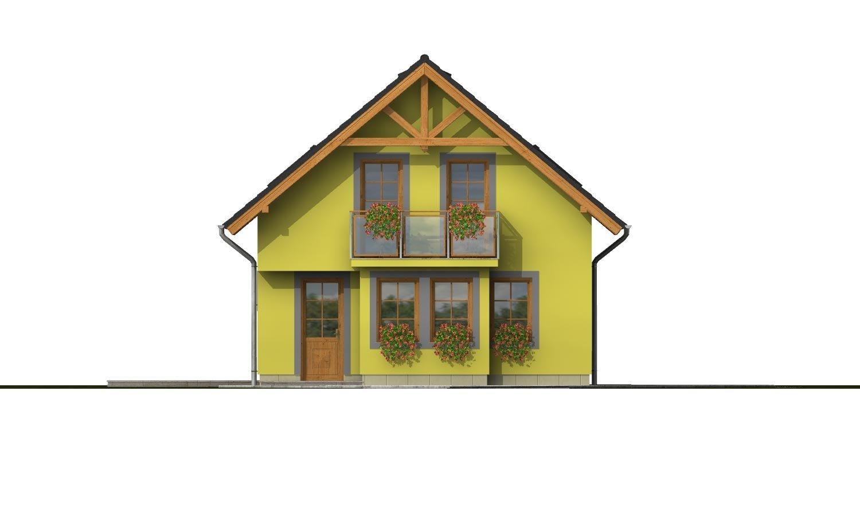 Pohľad 1. - Domček na úzky pozemok s prekrytou terasou.