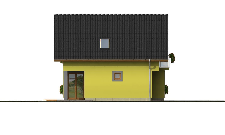 Pohľad 2. - Domček na úzky pozemok s prekrytou terasou.