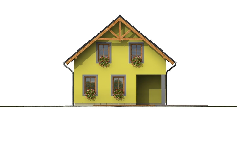 Pohľad 3. - Domček na úzky pozemok s prekrytou terasou.