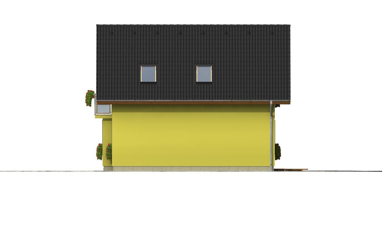 Pohľad 4. - Domček na úzky pozemok s prekrytou terasou.