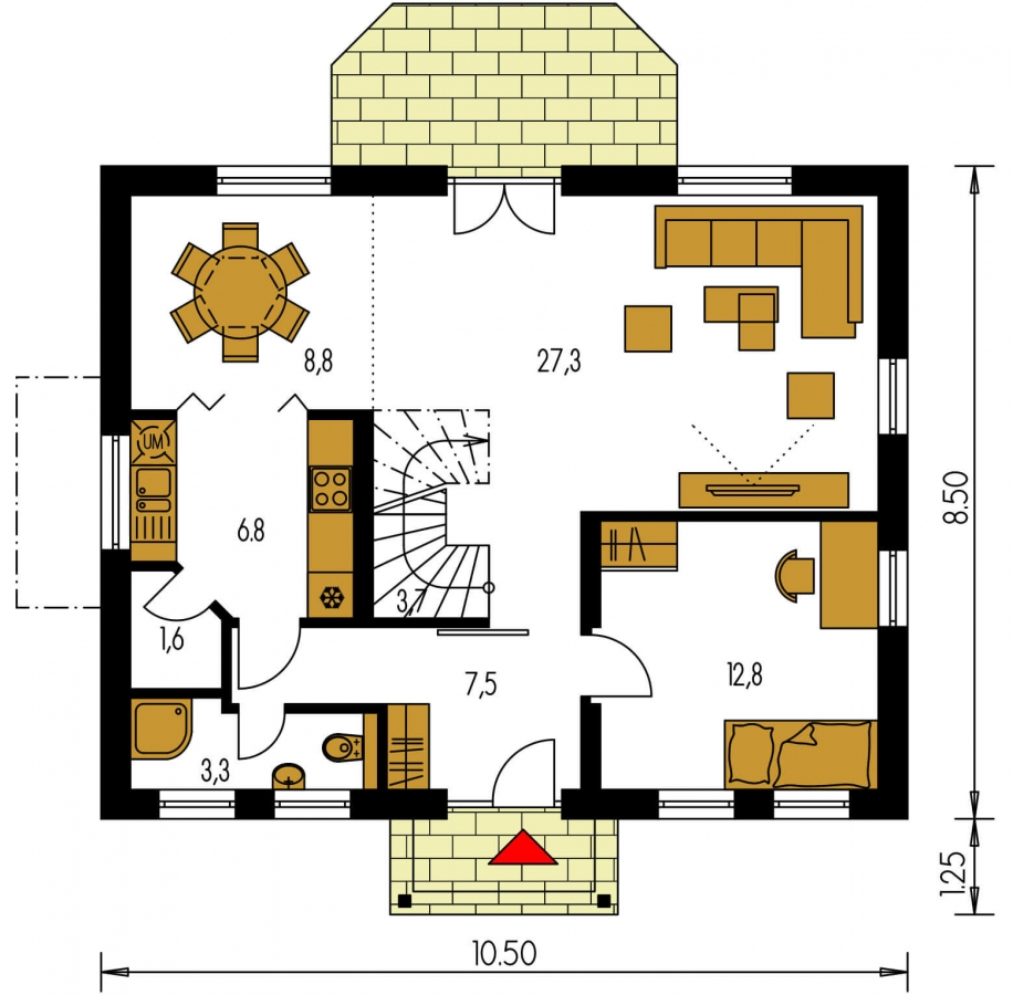 Pôdorys Prízemia - Malý dom s 5-timi miestnosťami s izbou na prízemí
